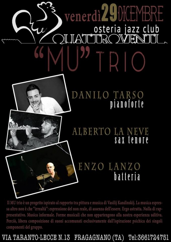 """Mu"" Trio in concerto all'Osteria-Jazz Club QuattroVenti"